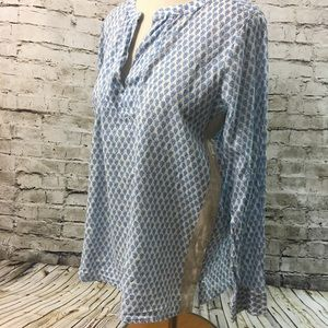 J.Crew Blue Gold Linen Stripe Tunic 8.